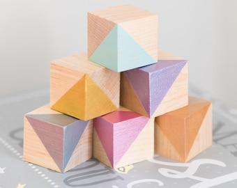 Metallic Painted Wooden Blocks - Nursery Decor - Playing Blocks - Children's Blocks - Baby Blocks