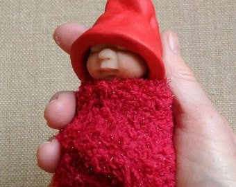 Clay BABY: Sleeping Baby, Sparkly Red Elf Hat, Sparkle Red Swaddling Cloth, Original, OOAK Sculpture, Christmas Baby