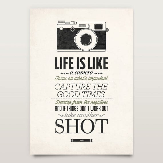 Poster Quotes About Life New Life Is Like A Camera Vintage Sign Inspirational Quote