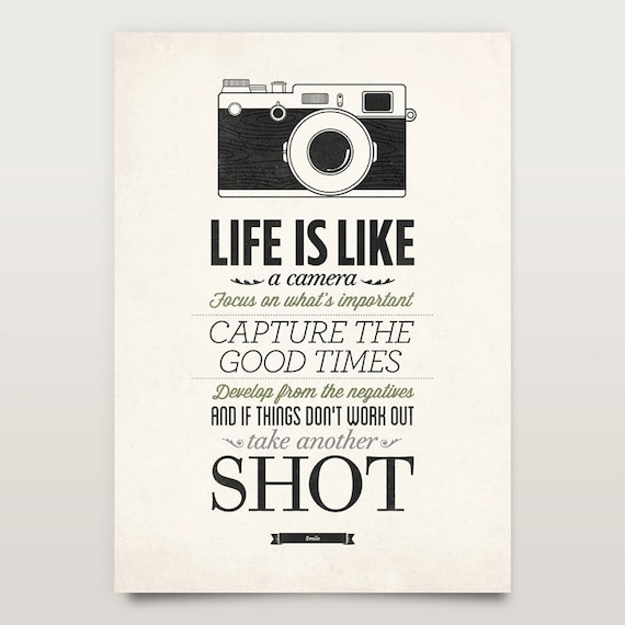 Poster Quotes About Life Entrancing Life Is Like A Camera Vintage Sign Inspirational Quote