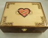 Solid Maple Wood Woodburned Celtic Knotwork Infinity Heart Jewelry Box, Keepsake Box, Memory Box