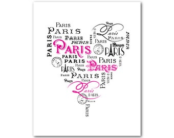 Paris Typgography Heart Shaped Word Art Print - French inspired teen tween art - French Country Heart typography Wall Decor - Bedroom Decor