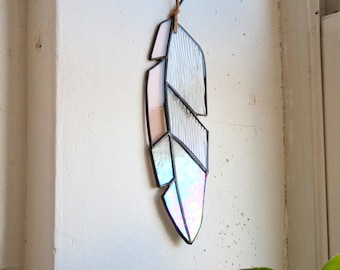 "9"" Stained Glass Feather - medium - Iridescent, light pink, and textured clear glass with leather for hanging"