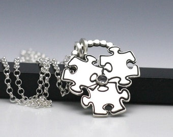 Autism Awareness Necklace Puzzle Piece Jewelry Awareness Jewelry Sterling Silver and Moonstone Necklace
