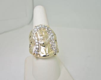 10K Solid Gold Face Of CHRIST Hand Crafted .56 ctw  White Sapphire Shimmering Halo RING Size 8 R824