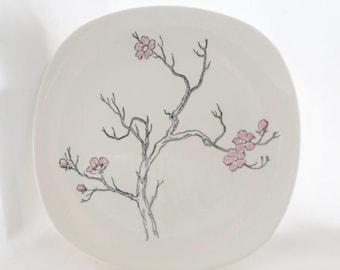 ON SALE 1950's, Vintage, Dinner Plate, Knowles, Rose Tree, K 1011, Pink, Black, Asian, Flowers, Set of 2, Serving,  Square, Dogwood Branch,