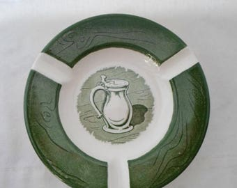 ON SALE Vintage, Small, Ashtray, Colonial Homestead, Green & White, Royal, USA, Cottage Chic, Serving