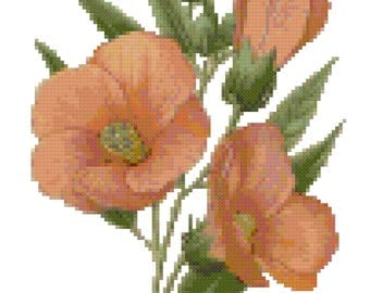 Vintage Hibiscus Botanical Cross Stitch Pattern, Digital Download PDF
