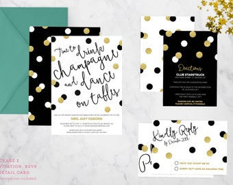 Champagne and Dancing Invitation - Birthday, Bachelorette Party, New Years Eve