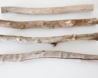 4 Driftwood Pieces -- Sawn Bulk Driftwood Bundle -- Natural Beach Wood Finds -- Drift Wood for Wall Hanging Wovens, Tapestry, Macrame, Quilt