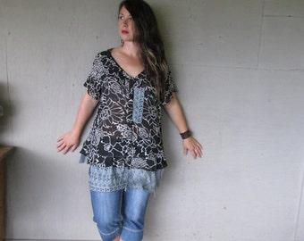 Bohemian upcycled clothing Romantic lace top black white georgette Boho ruffled Lagenlook tunic layered artsy shirt 22W LillieNoraDryGoods