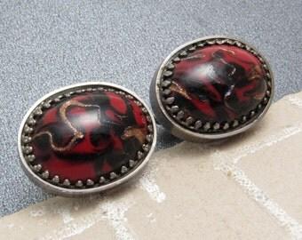 Large Vintage Art Glass Cufflinks Red Black Mens Jewelry H871