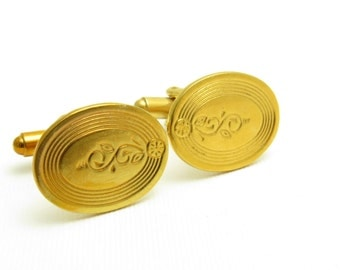 Vintage Cufflinks Gold Scroll Flower Mens Jewelry H8889