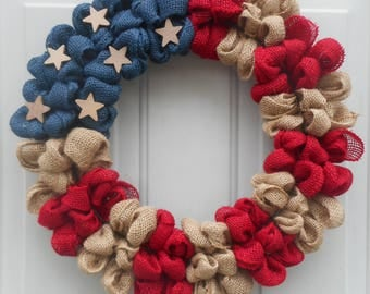 Americana Flag burlap wreath Americana burlap wreath flag wreath Americana wreath Americana decor Memorial day wreath July 4thRTS