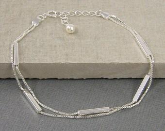 Sterling Silver Bar Bracelet, Two Strand Bracelet, Bar and Chain Bracelet, Thin Bar Bracelet, Minimalist, Dainty Layered Bracelet |BB1-14