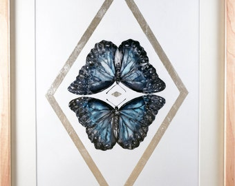 Blue Morpho Kiss / Original Painting / Artwork / Ink, Metallic Pigment, Silver Leaf / Framed in Maple