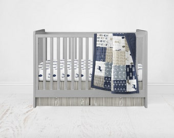 Rustic Woods Crib Bedding Set - Woodland Deer Patchwork Wholecloth Crib Quilt Stag Fitted Sheet Woodgrain Crib Skirt
