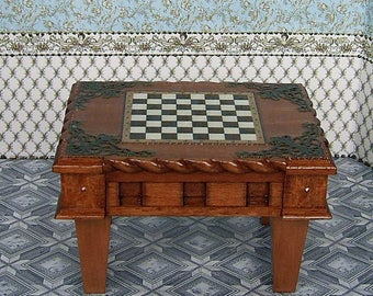 Wooden Chess Table And Chess Figures In A Set. Handcrafted Miniature. For  Doll House