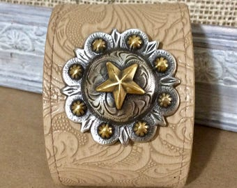 Wide Tooled Tan Leather Cuff Bracelet with Gold & Silver Concho -Statement Bracelet - Boho Cuff -Indie Jewelry -Unisex Cuff - Western Cuff