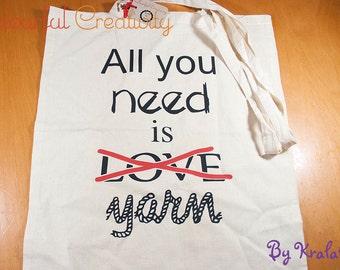 Tote bag - All you need is love/yarn