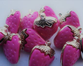 21mm Dark Pink UV Plating Strawberry Acrylic Buttons, 1-Hole Shank Buttons, Golden Metal Color, Pack of 12 A21S2
