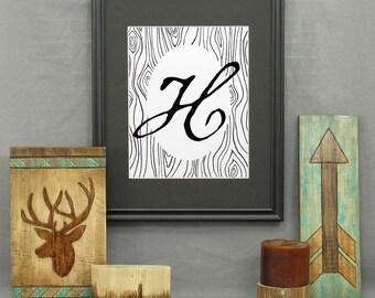 Large Letter H Print, printable, letter art, typography, monogram, modern rustic decor, alphabet, initials, wood grain, wall art, historical