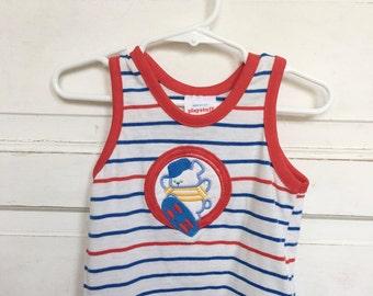 Vintage baby boy tank top/ beach wear- cintage baby clothes size 12M