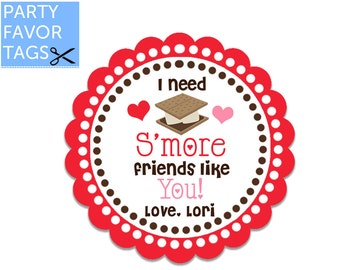 Smore Valentines Day Favor Tags - Smore Friends, Smores Valentine Favor Tags, Valentines Day Tags, Valentine Tags, Printable Favor Tags