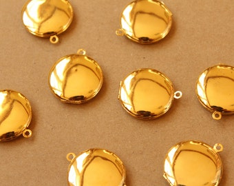 3 pc. Gold Round Lockets 25mm x 28mm | LOC-055