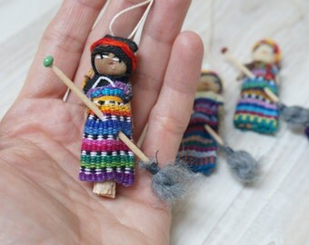 Hanging ornament Good luck kitchen witch doll Halloween handmade folk tribal orange blue home decor tiny mini  art figurine hand sculptured