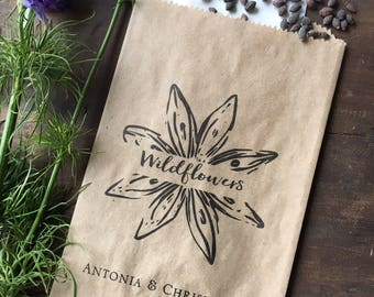 Wildflower Seed Wedding Favor Bags - Personalized Seed Packet Favor Bags- Kraft Paper Favor Bags - Seed Bridal Favor, pkg of 25