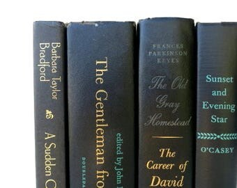 Vintage Books in Black/Book Decor/Instant Library/Book Bundle/Wedding Decor/Old Books/Books To Decorate/Tabletop Decor