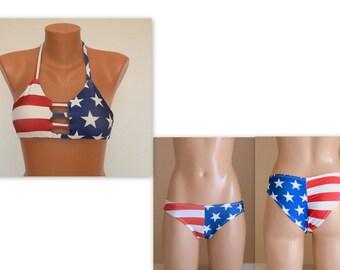 PADDED American Flag strappy bikini top and matching scrunch butt cheeky bottoms-Swimsuit-Swimwear-4th July bikini-Bathing suit-XS-S-M-L-XL