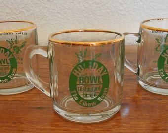 Vintage Glass Coffee Mugs Holiday Lanes Bowling Alley Lot of 3