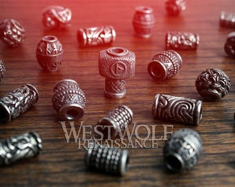 Silver Viking Jewelry / Beard Beads - Norse/Scandinavian/Designs/Raven/Thor/Hammer/Rune/Bead/Necklace/Pendant