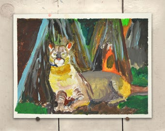 """Big Cat Original Art 11.5x9"""" One of a Kind 100% of the profits go directly to artists with disabilities Item 95 Nancy C."""