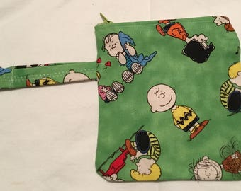 Charlie Brown zippered bag, key chain, key fob, children's bag, money clutch, pencil bag, crayon bag, catchall bag