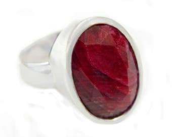 Red Ruby Sterling Silver Ring Vintage Contemporary Modern Natural Ruby Large Statement July Birthstone Gift For Her Sz 8