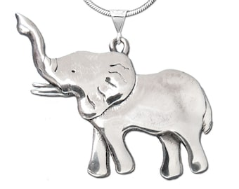 Sterling Silver Elephant Large Pendant