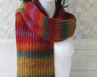 Boho knit Scarf, hand knit scarves, oversized scarves, Colorful knitwear, women's knit scarves, oversized  Lightweight scarf