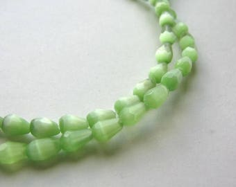 Green Cateye Glass Beads 5x7mm Faceted Teardrops 30pcs