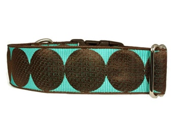 """Polka Dot Dog Collar 1.5"""" Large Brown Dog Collar"""