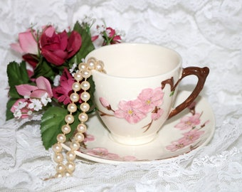 Vintage Metlox Poppy Trail Peach Blossom - Cup & Saucer - Excellent Condition - Made in California - 1952 to 1962