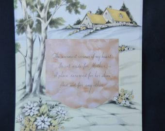 """eb2151 Quaint Print Poem About Mother Cottage Home Trees Vintage 8"""" x 10"""""""