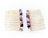 Multi-Colored Gemstones Hair Combs, Hair Accessories, Two (2) Small Gold Hair Combs, Fluorite & Amethyst Gemstones, Wire Wrapped Accessories