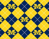 Licensed NCAA University Of Michigan Wolverines Argyle Fleece Fabric 60'' Wide Sold By The Yard