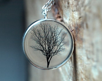 Tree of life resin necklace,Nature necklace pendant, resin jewelry, Jewerly gifts for her,Black winter tree pendant, gifts under 30,Oak