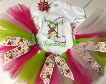 Monkey girl birthday shirt and tutu set