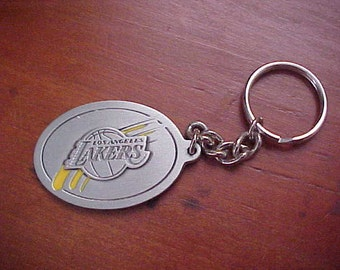 1990s Los Angeles LA LAKERS Pewter Key Chain Classic Basketball Collectors Top Quality NBA National Basketball Association Licensed Product