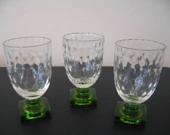 Vintage Green Base Cordial/Aperitif Glasses, Set of Three